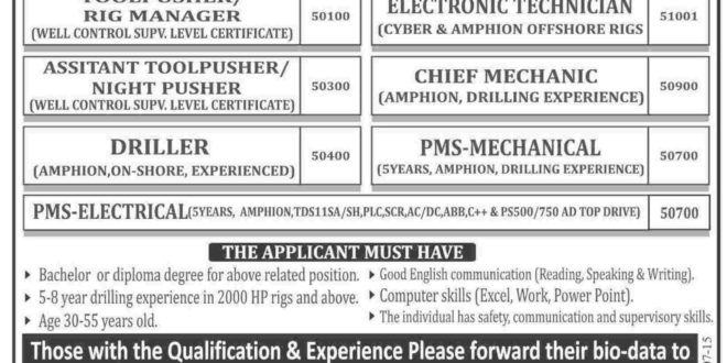 Arabian Drilling Company ADC Jobs 2015 Latest Advertisement, Email Address