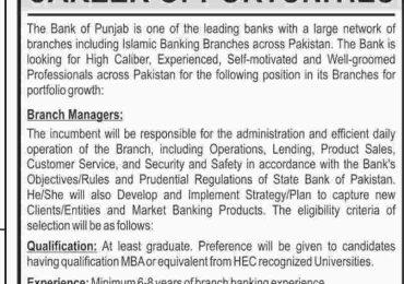 Bank Of Punjab BOP Jobs 2015 Branch Manager July Advertisement Apply Online