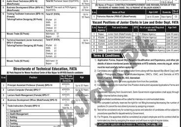 Fata Secretariat Peshawar Jobs 2015 Phase 3 NTS Application Form
