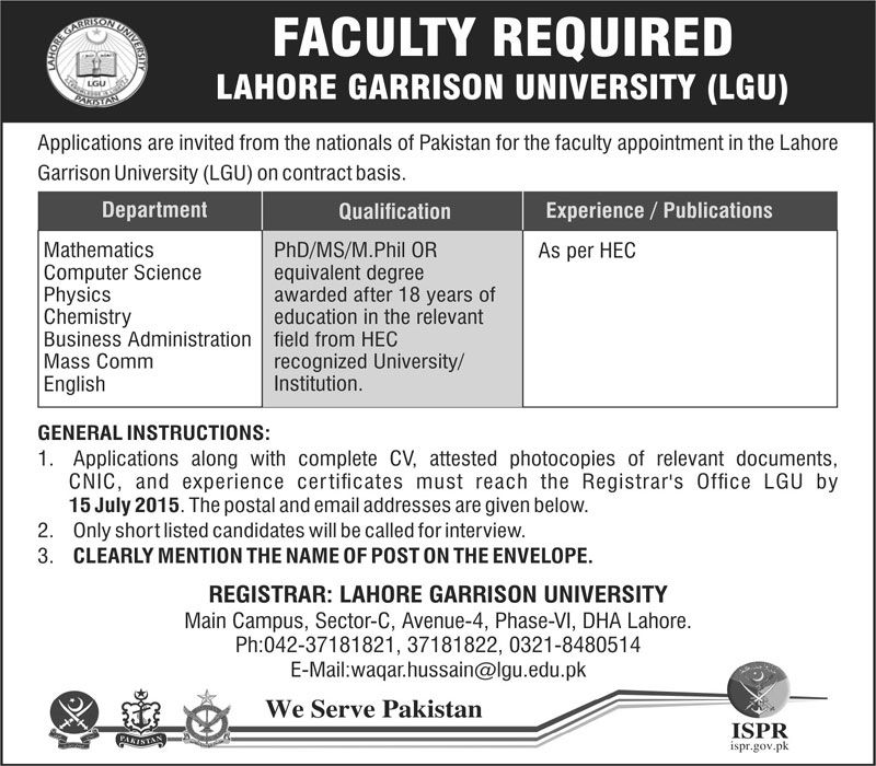 Lahore Garrison University Lecturer Jobs 2019 Advertisement Application