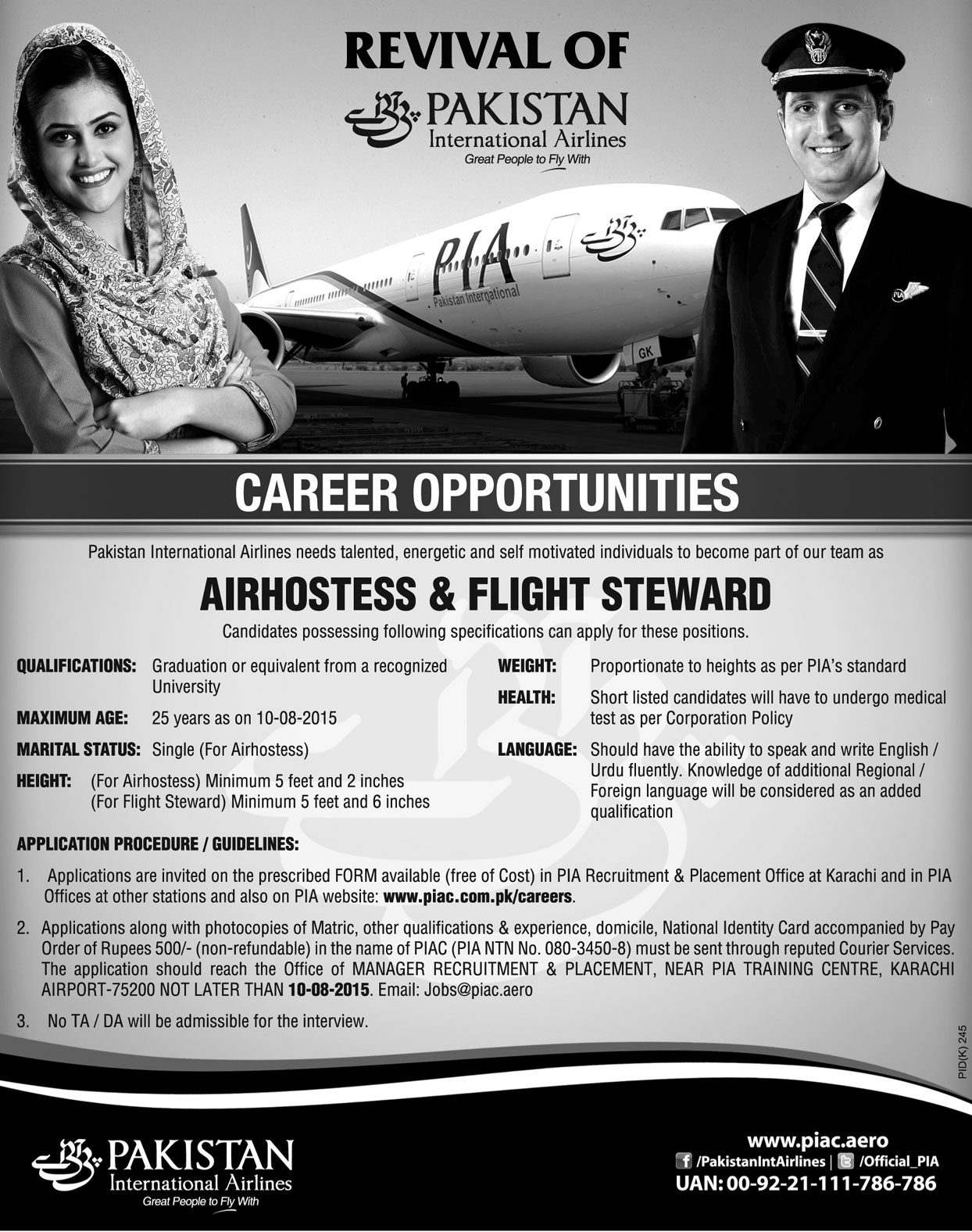 pia karachi air hostess flight steward jobs 2017 april advertisement application form apply for stewardess - Apply For Stewardess Job