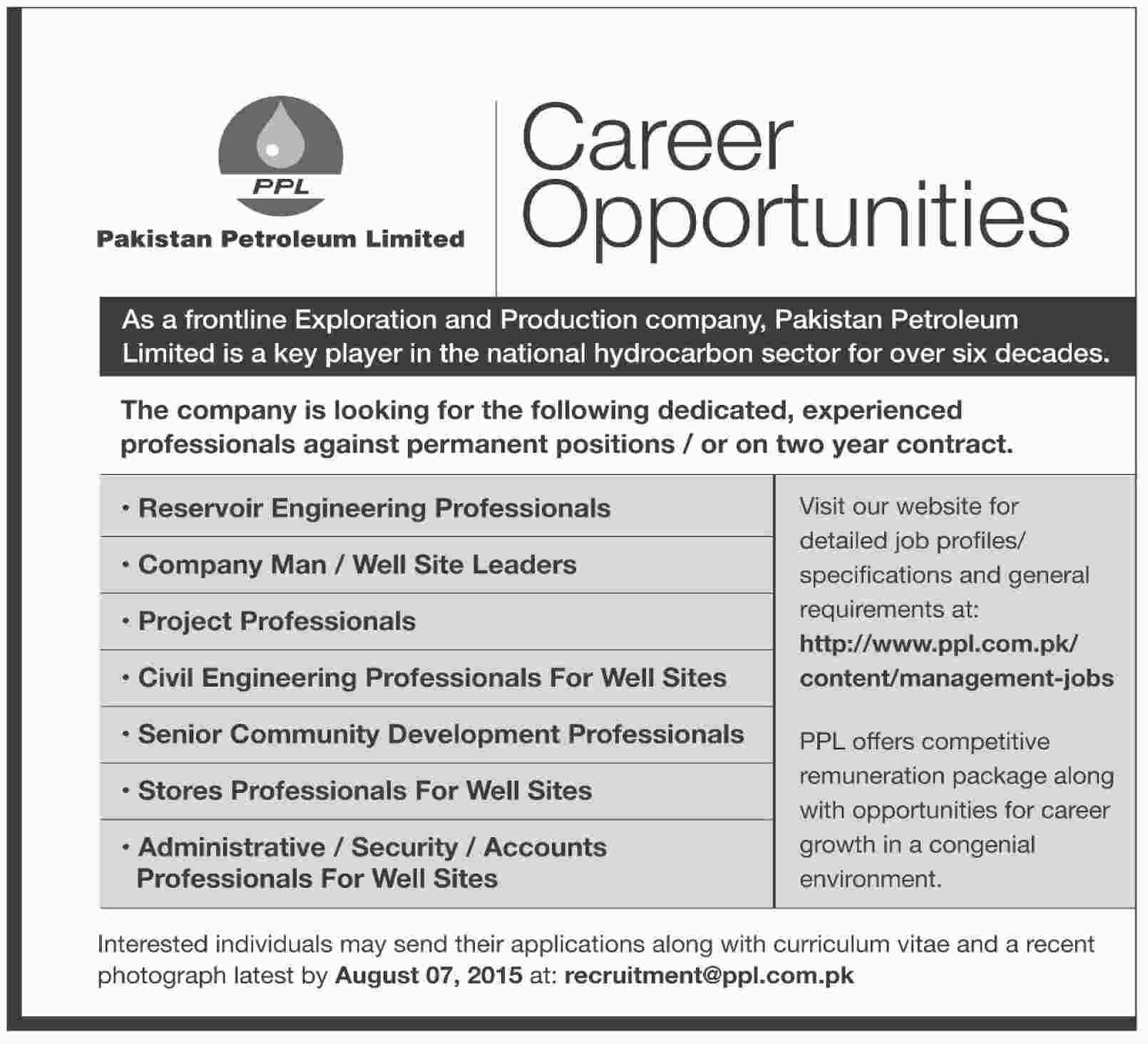 Pakistan Petroleum Limited PPL Jobs 2019 Latest Advertisement