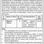 SIMS Sanghar Medical Officer Jobs 2015 July Latest Advertisement