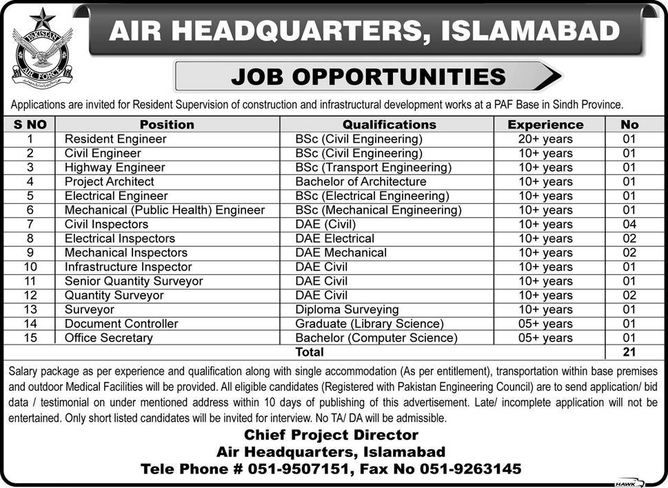 Air Headquarters Islamabad Jobs August 2015 Advertisement