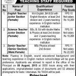Fazaia Inter College Lower Topa Murree Teacher Jobs August 2015 Advertisement