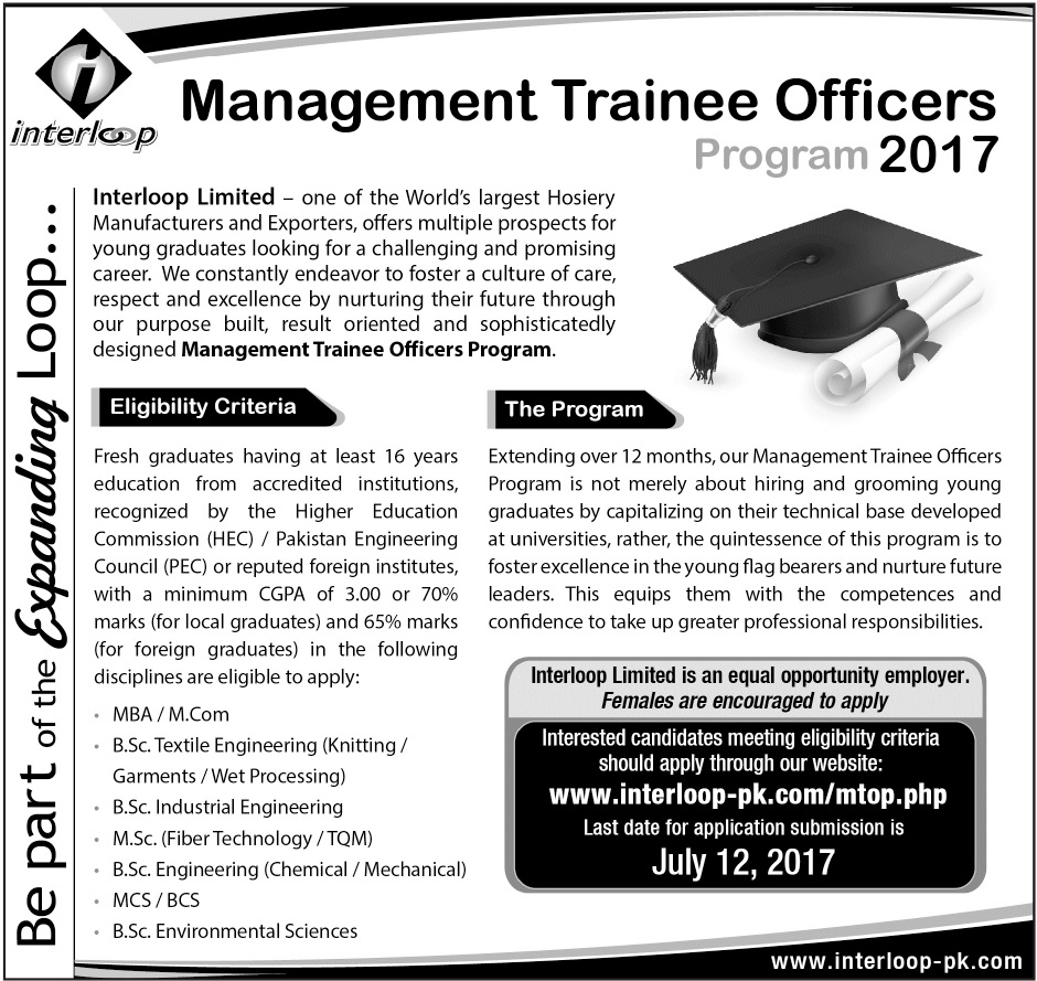 Interloop Pakistan Jobs Management Trainee Officers Program 2017 Apply Online