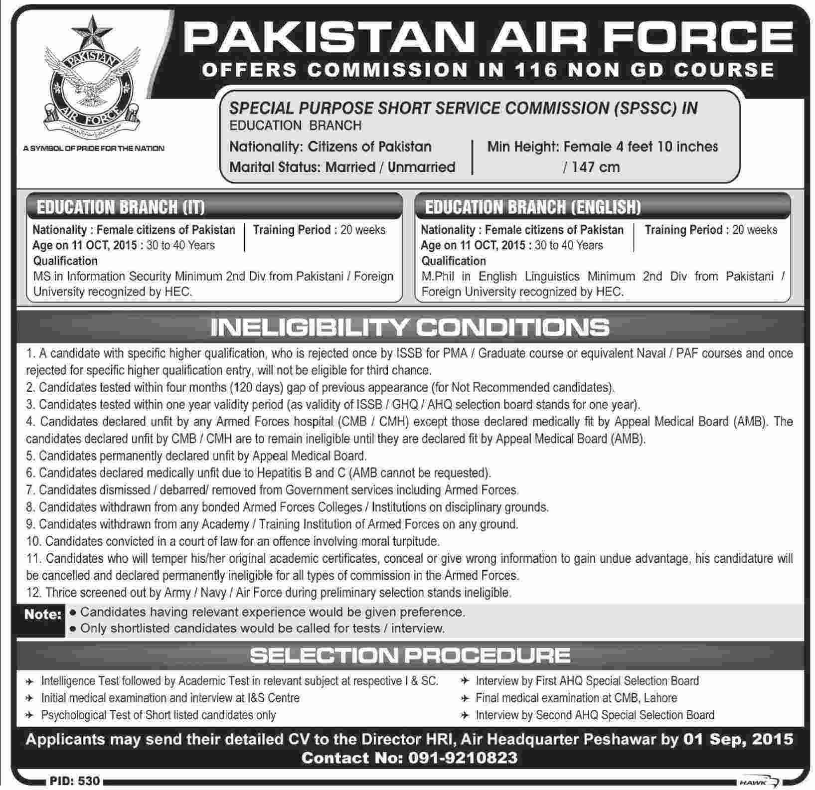 Pakistan Air Force Female Jobs 2017 PAF Female Jobs Registration Online