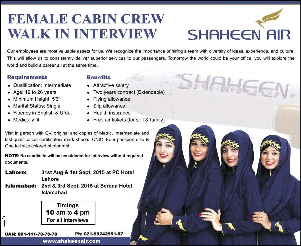 shaheen airline cabin crew job may 2017 advertisement
