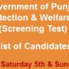Child Protection And Welfare Bureau Jobs NTS Test Result 2016 4th, 5th, 6th November