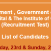 Children Hospital Lahore Jobs NTS Test Result 2016 23rd, 24th, January