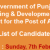 Planning And Development Department Punjab Assistant NTS Test Result 2016 7th February