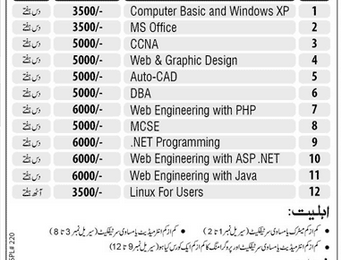 Punjab University Short Computer Courses 2018 Admission Fee, Form