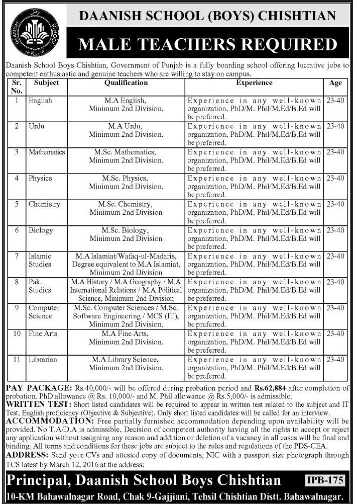 School Teacher Jobs 2018 In Punjab Daanish School GOVT