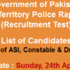 Islamabad Police Rapid Response Force NTS Test Result 2016 24th April