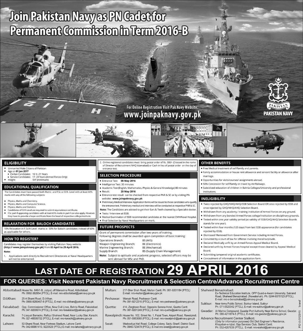 How to Join Pakistan Navy As Commissioned Officer 2016 After FSC, O/A ...