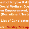KPK Social Welfare Peshawar Jobs NTS Test Result 2016 24th April