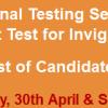 NTS Invigilation Staff Test Result 2016 30th April, 1st May