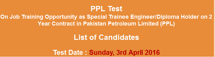 PPL Special Trainee Engineer, Diploma Holders NTS Test Result 2016