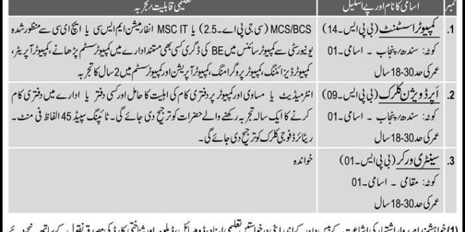 Pakistan Army ISI Intelligence Agency Jobs 2017 ISPR Clerk, Stenographer Form