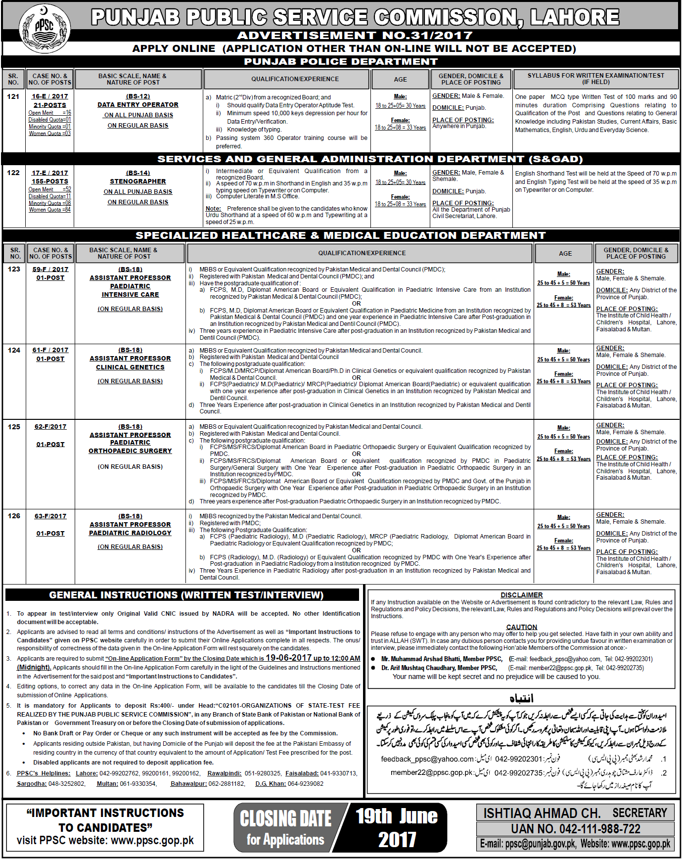PPSC Data Entry Operators Jobs 2017 in Punjab police www.ppsc.gop.pk