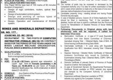 PPSC Computer Instructor Female Jobs May 2016 Mins and Minerals Department