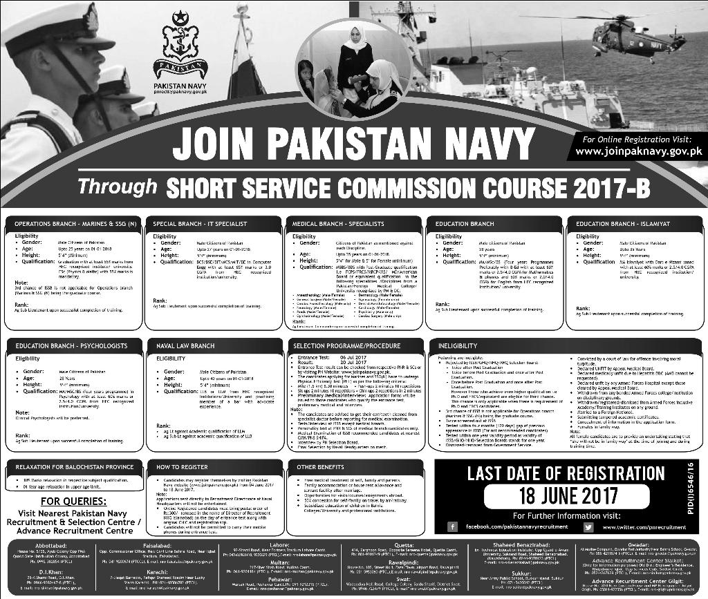 Pakistan Navy SSG Jobs Short Service Commission 2017-B Online Registration Form