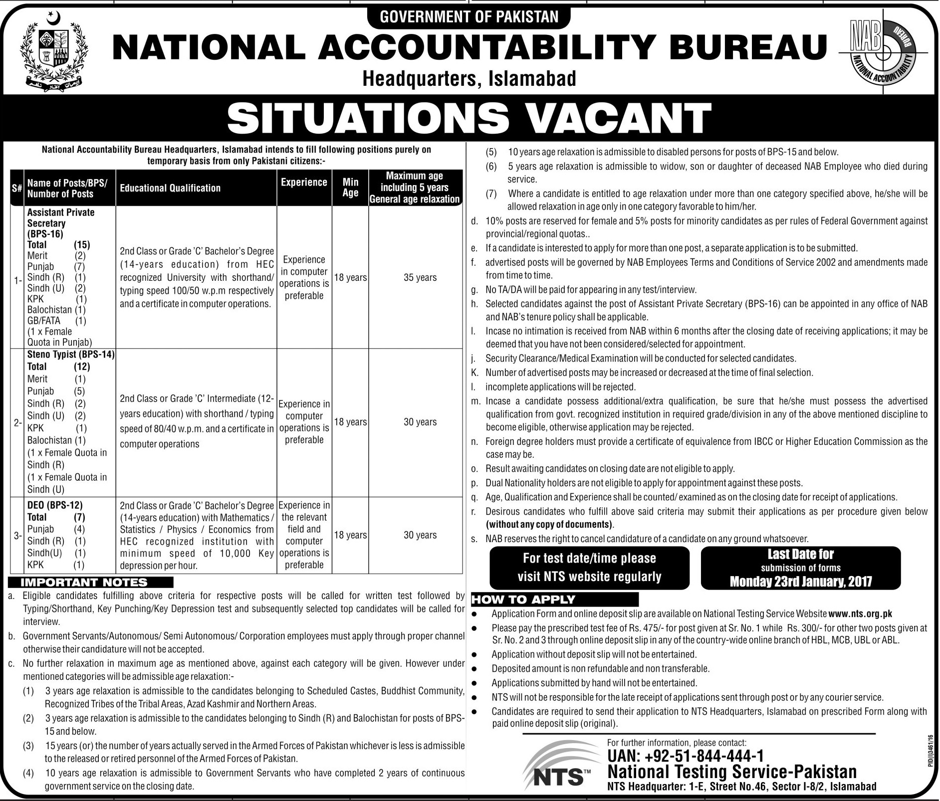 NAB Islamabad NTS Jobs 2018 Application Form Jang Sunday Advertisement