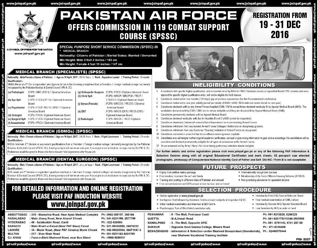 PAF Commission Jobs 2016 in 119 Short Service Commission SPSSC Registration Online