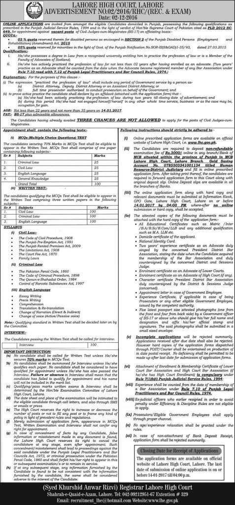 Lahore High Court Jobs 2016 December Advertisement Application Form