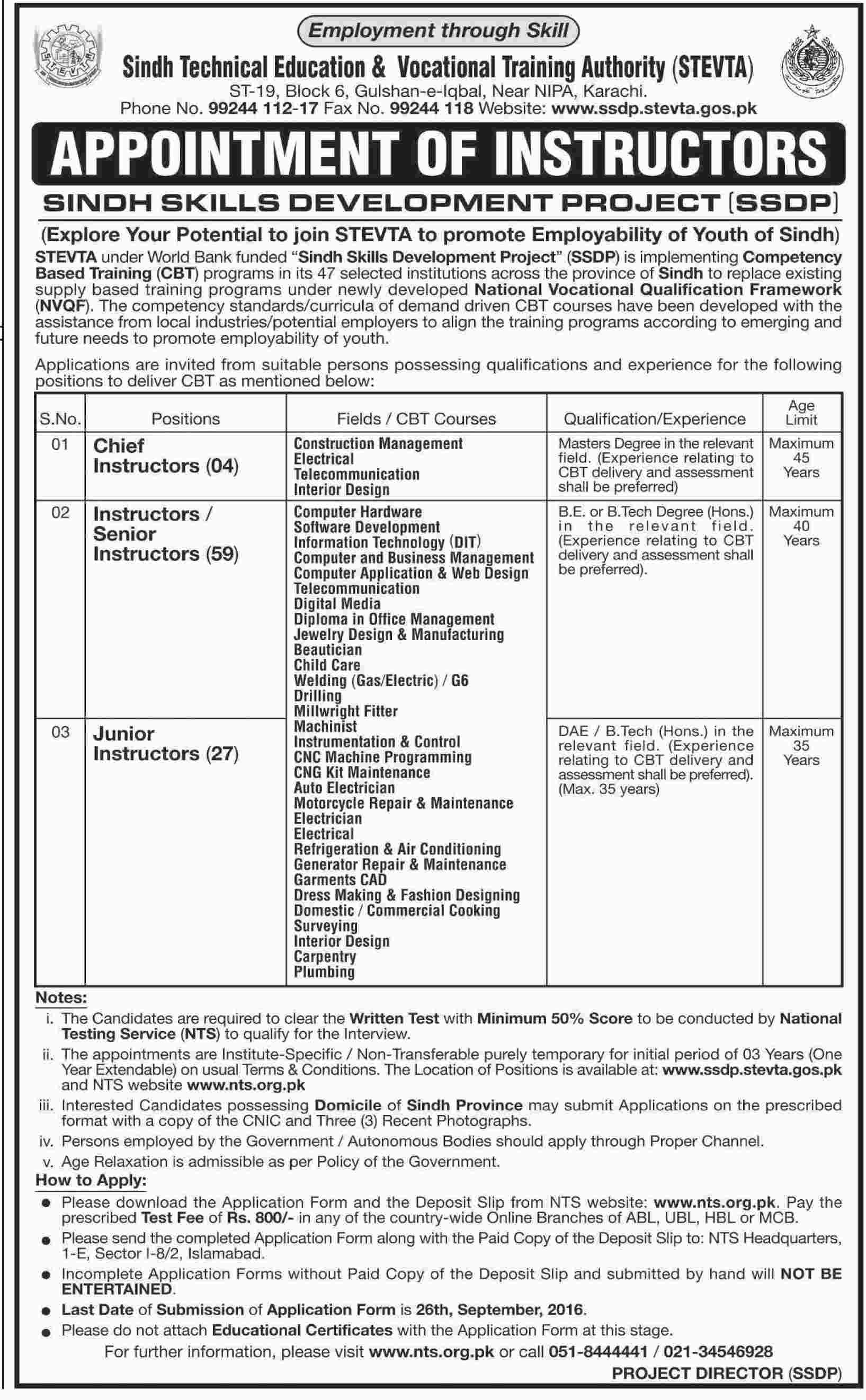 technical education and vocational training authority jobs  sindh technical education and vocational training authority jobs 2016 stevta advertisement