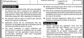 CTD Counter Terrorism Department Constable Jobs 2016 Sindh Police Advertisement