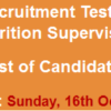 Health Department Vehari School Health Nutrition Supervisor NTS Test Result 2016 16th October