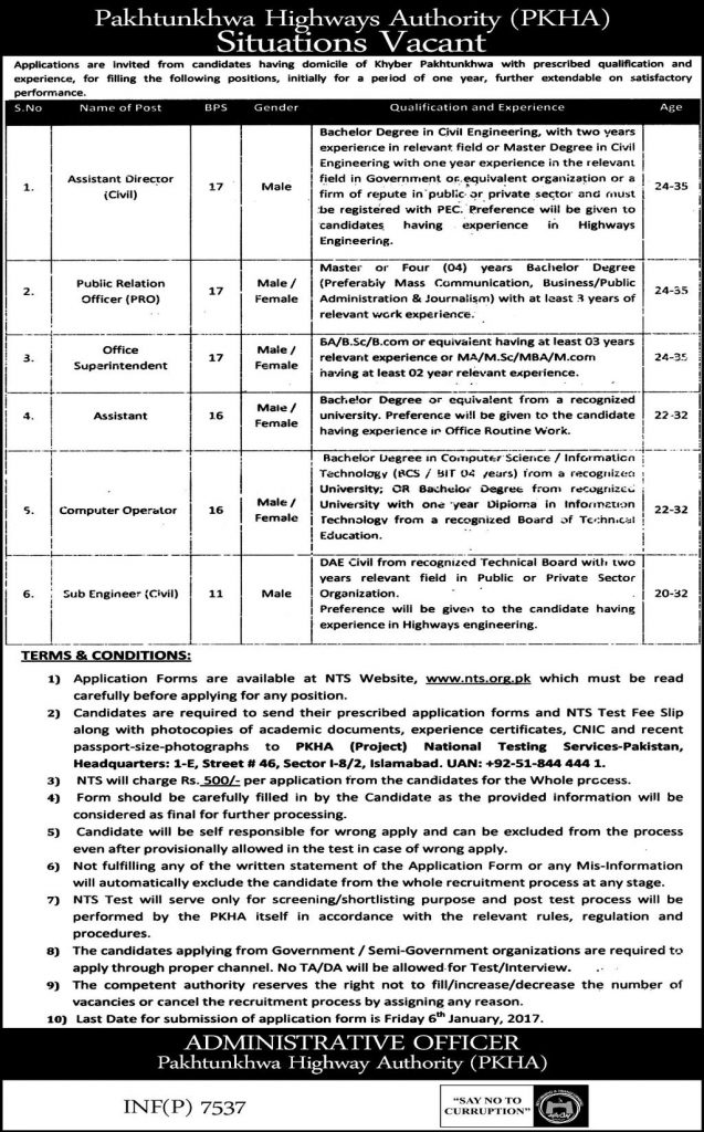 Pakhtunkhwa Highways Authority Peshawar NTS Jobs 2017 PKHA January Advertisement