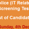 Punjab Police Data Processing Officer, Hardware Technician NTS Test Result 2016 4th December