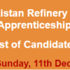 Pakistan Refinery Ltd PRL Apprenticeship Program NTS Test Result 2016 11th December