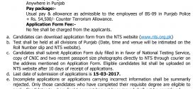 CTD Punjab Police NTS Jobs 2017 Corporals GOVT Vacancies Application