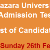 Hazara University M.Phil, PhD Admission NTS Entry Test Result 2017 26th February