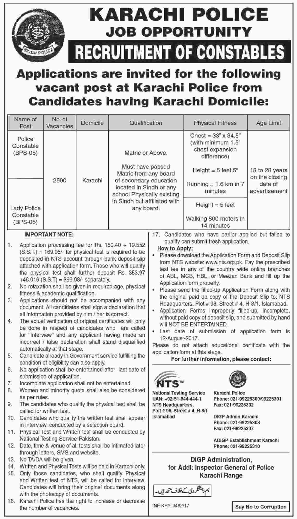 Karachi Police Constable And Lady Constable NTS Jobs 2017 Form