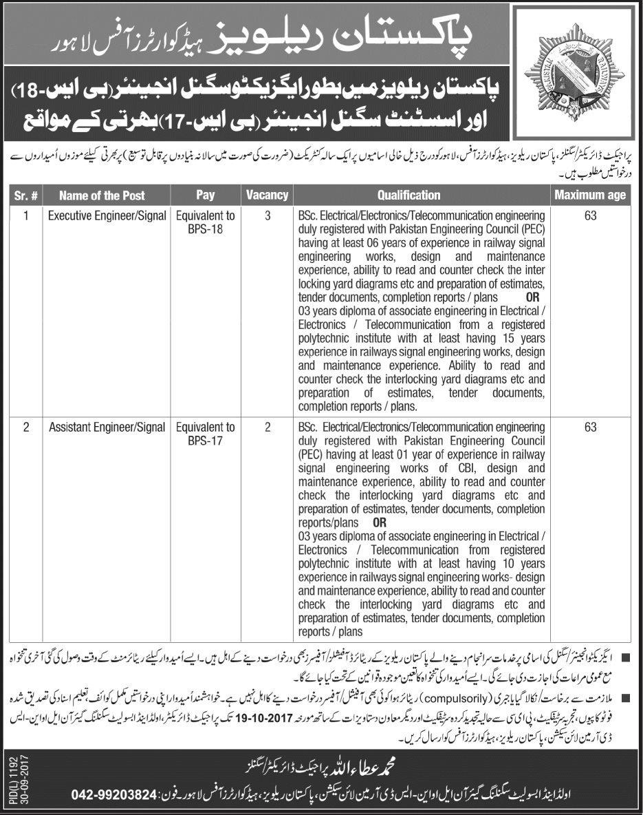 Pakistan Railways Headquarters Office Lahore Jobs 2017 Application Form Download