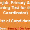 Primary, Secondary Healthcare Support Coordinator NTS Test Result 2017 30th July
