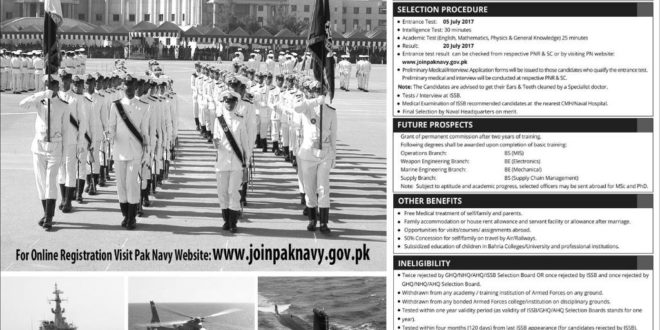 Join Pakistan Navy Permanent Commission 2017 PN Cadet Online Registration 11th June
