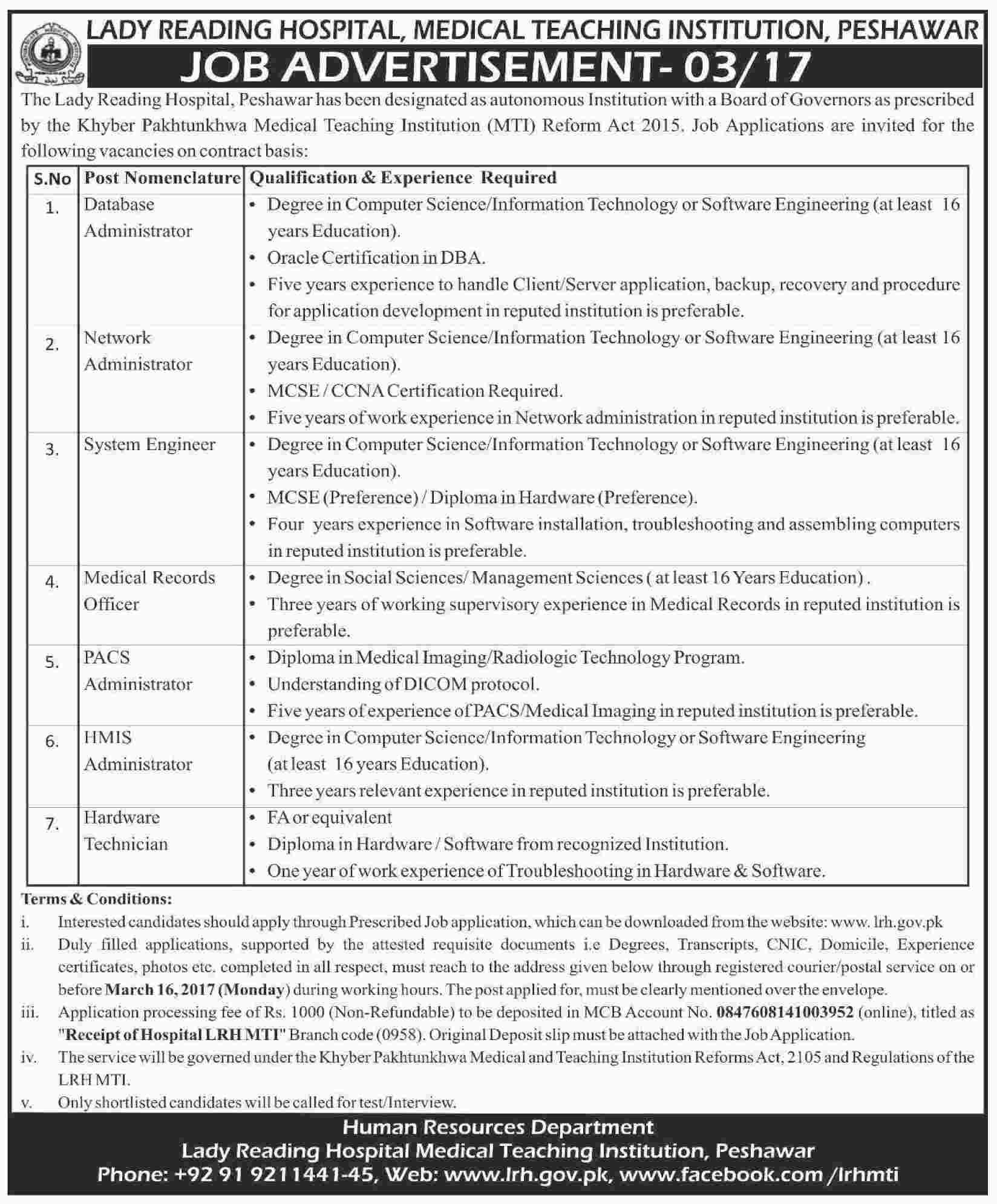 reading hospital peshawar jobs lrh mti application form lady reading hospital peshawar jobs 2017 lrh mti application form