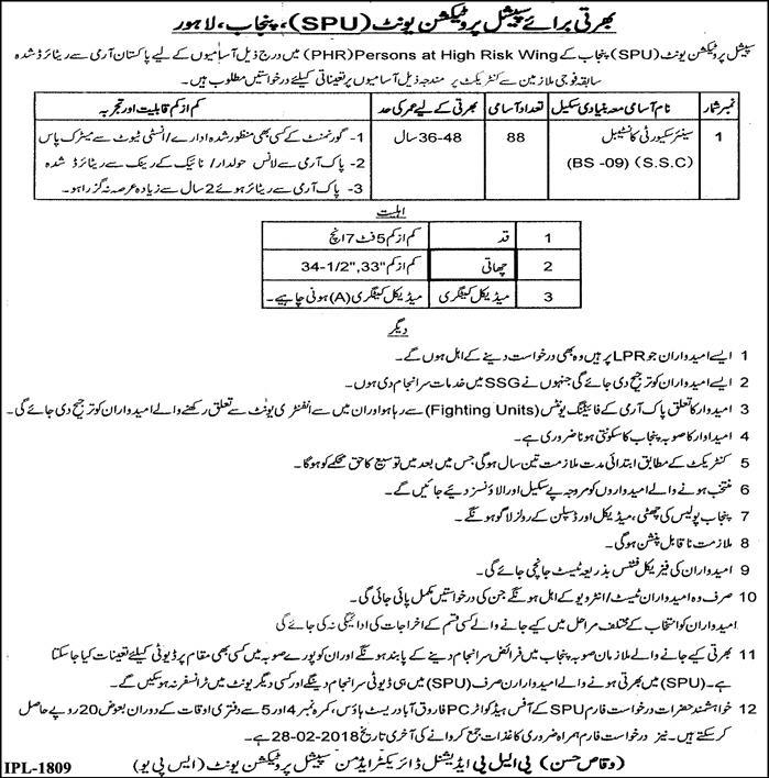 Punjab Police Jobs SPU 2018 in Lahore Special Protection Unit February Advertisement