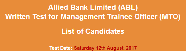 Allied Bank Limited ABL MTO Jobs NTS Test Result 2017 12th August