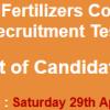 Fatima Fertilizer Company Apprenticeship NTS Test Result 2017 29th April