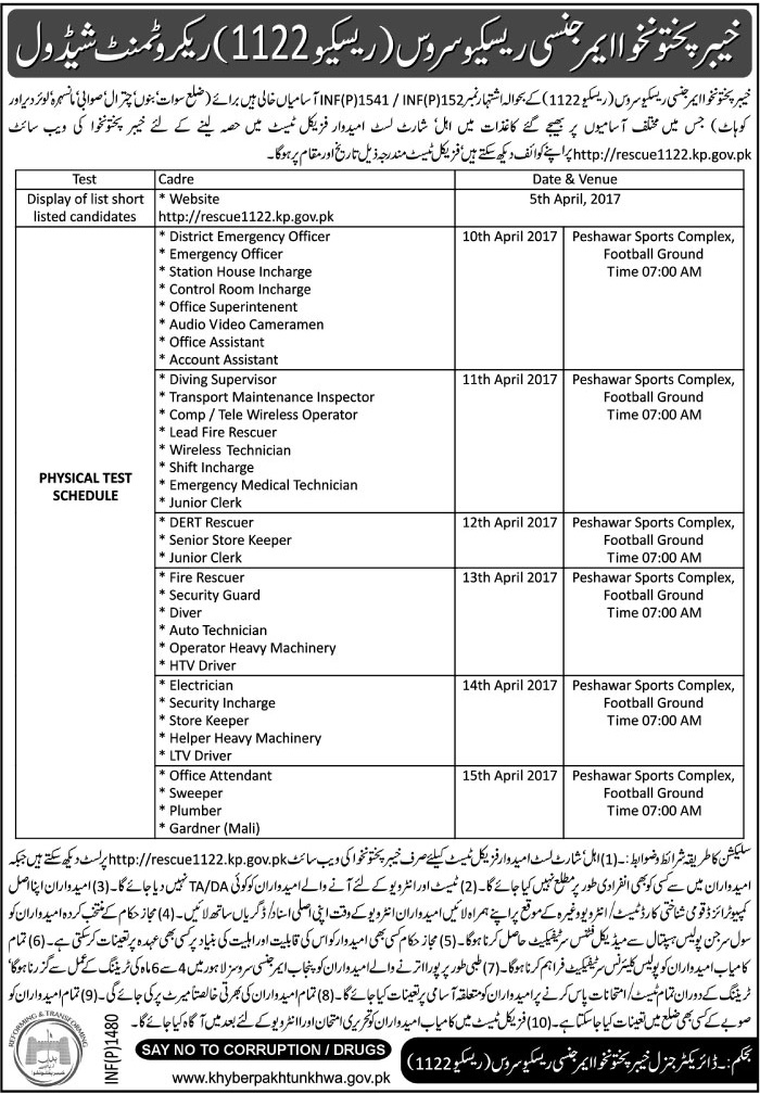KPK Rescue 1122 Jobs 2017 Application Form Physical Test Last Date