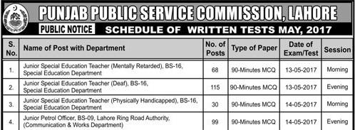 PPSC Junior Patrol Officer Lahore Ring Road Written Test Result 2017