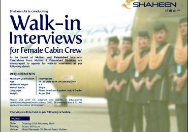 Shaheen Airline Cabin Crew Job 2018 Advertisement Interview Dates