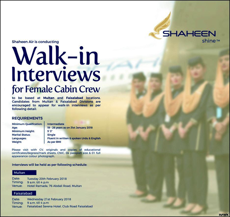 Shaheen Airline Cabin Crew Job 2018 Advertisement Interview Dates