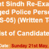 Sindh Police Dismissed, Discharged Police Constable NTS Test Result 2017 21st May